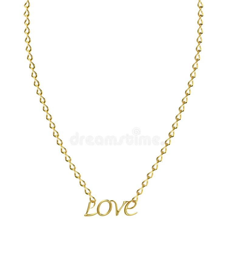 Golden necklace with word Love stock illustration