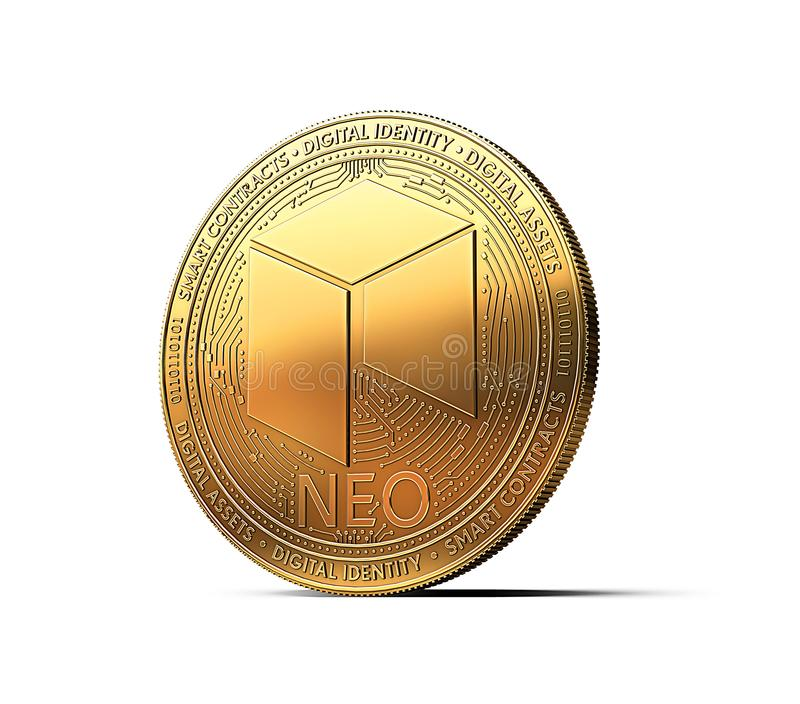 Golden NEO cryptocurrency physical concept coin isolated. On white background. 3D rendering vector illustration