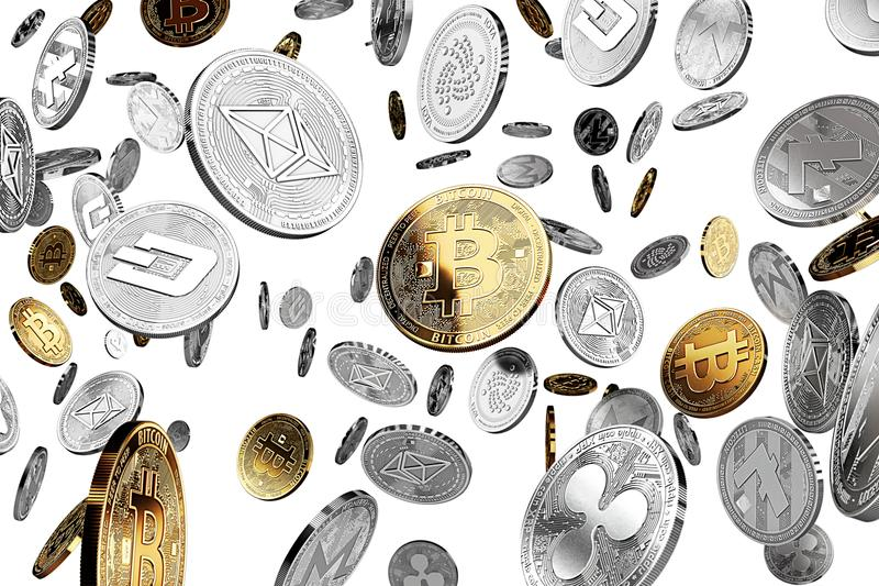 Golden NEO cryptocurrency physical concept coins. Golden NEO cryptocurrency physical concept coin on white background. 3D rendering vector illustration