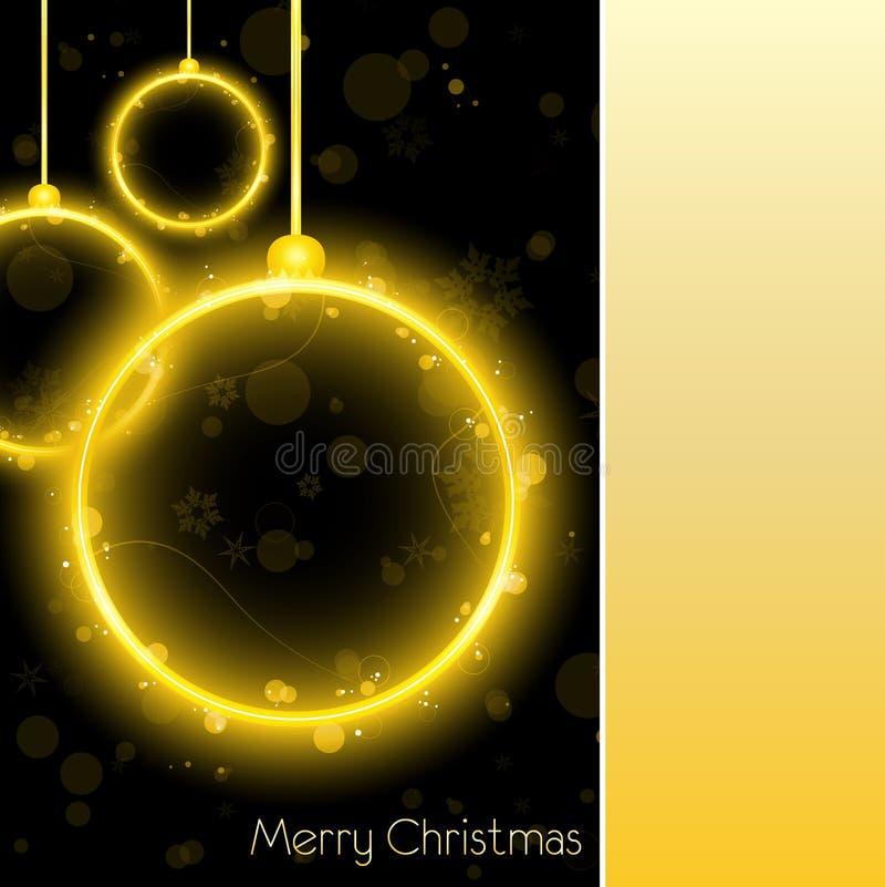 Golden Neon Christmas Ball Card vector illustration