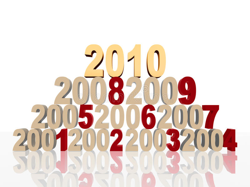 Golden new 2010 on pyramid. 3d colour numbers new 2010 and previous years on pyramid vector illustration