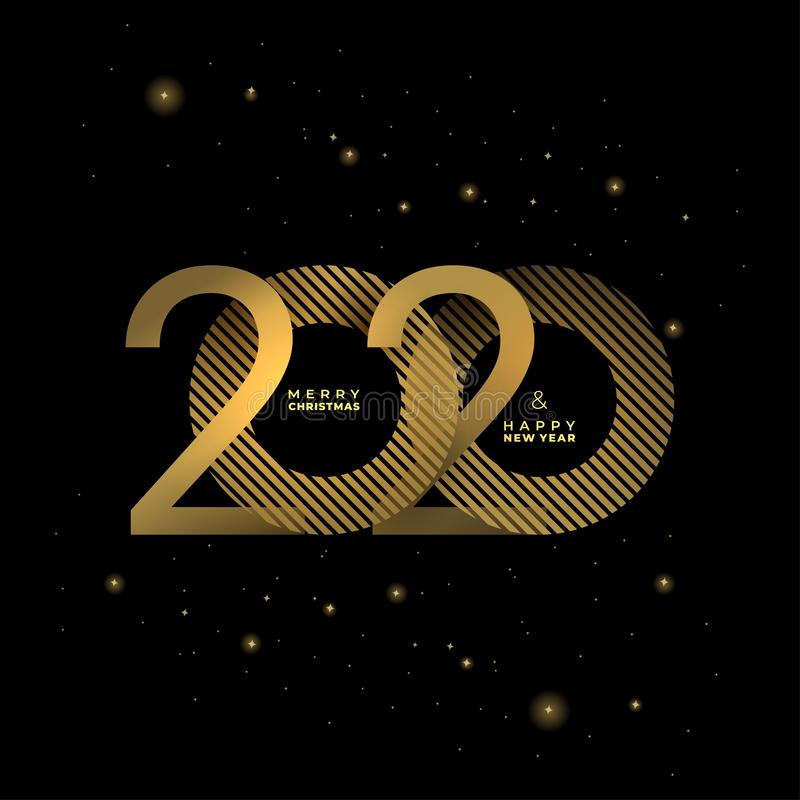 Golden 2020 New Year on a dark background Creative element for design luxury cards invitations party. Vector gold colors modern stock illustration