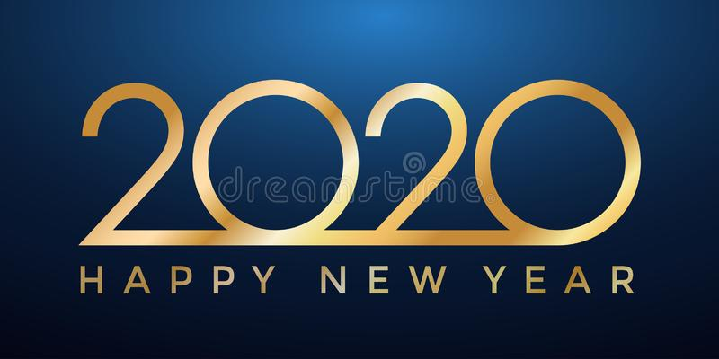 2020 golden New Year on dark blue background, Happy New Year decorative shiny design for award celebration - vector royalty free illustration
