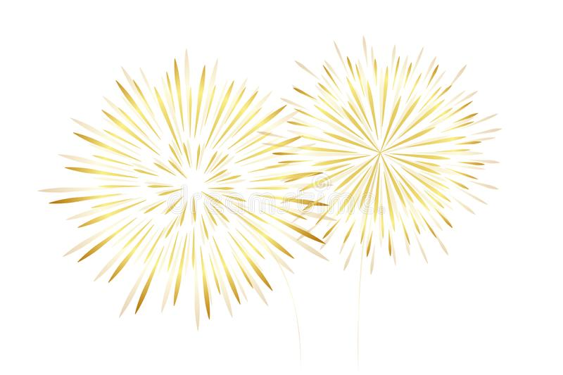Golden new year fireworks isolated on white background royalty free illustration