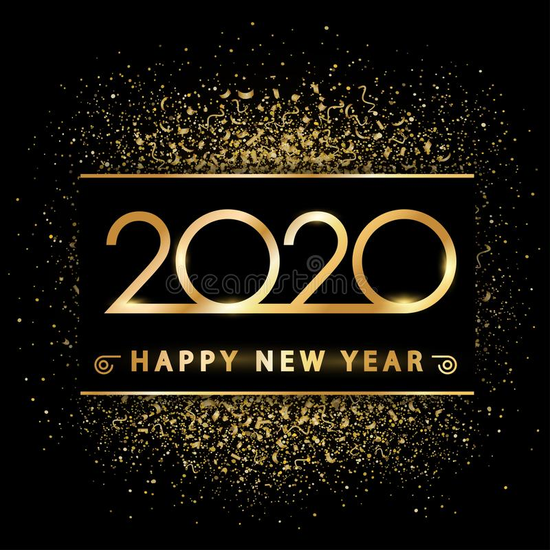 Golden new year 2020 on gold dust - vector. Golden new year 2020 on gold dust - stock vector stock images