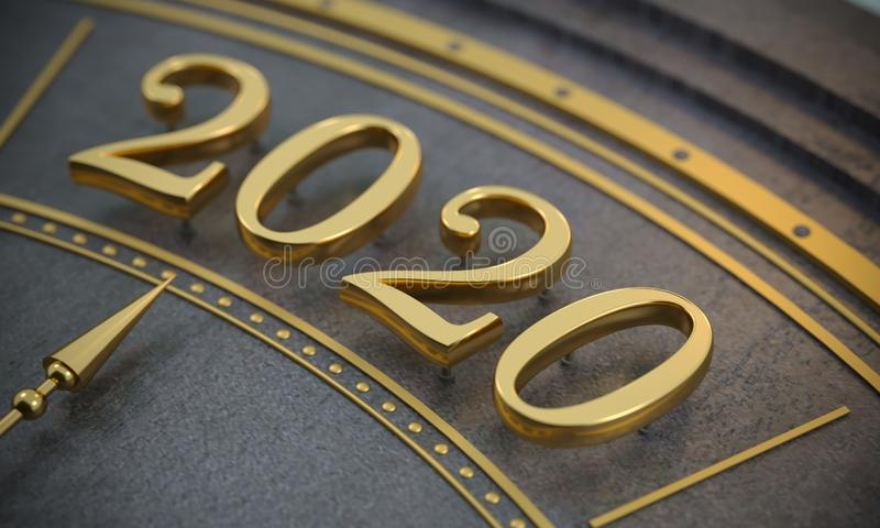 Golden New Year number 2020 close up stock photos