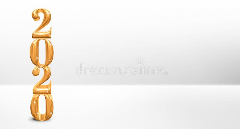 Golden new year 2020 number 3d rendering on white studio room backdrop,Leave copy space for adding text or display of product. For holiday seasonal,New year and vector illustration