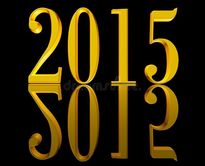Golden New Year 2015 royalty free illustration