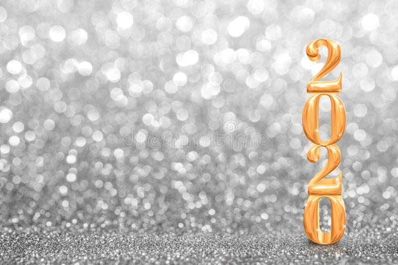 2020 golden new years 3d rendering at abstract sparkling bright silver glitter  perspective background studio.luxury holiday. Backdrop mock up for display of stock image