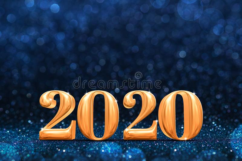 2020 golden new years 3d rendering at abstract sparkling dark blue glitter perspective background studio.luxury holiday backdrop. royalty free stock photos