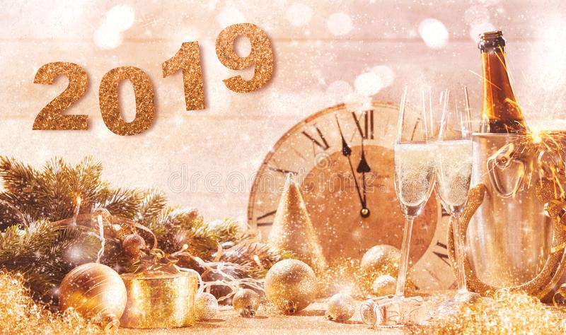 Golden 2019 New Years Eve party background royalty free stock image
