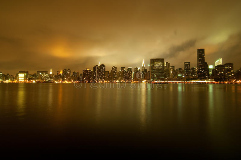 Golden new york city skyline