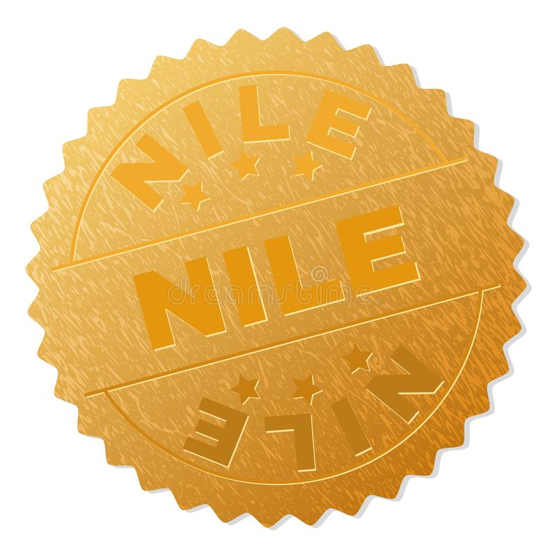 Golden NILE Award Stamp. NILE gold stamp medallion. Vector golden medal with NILE text. Text labels are placed between parallel lines and on circle. Golden area royalty free illustration