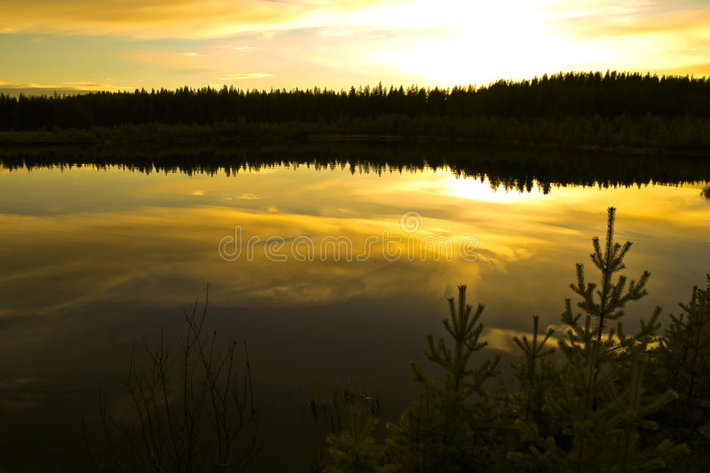 Golden northern sunset stock images