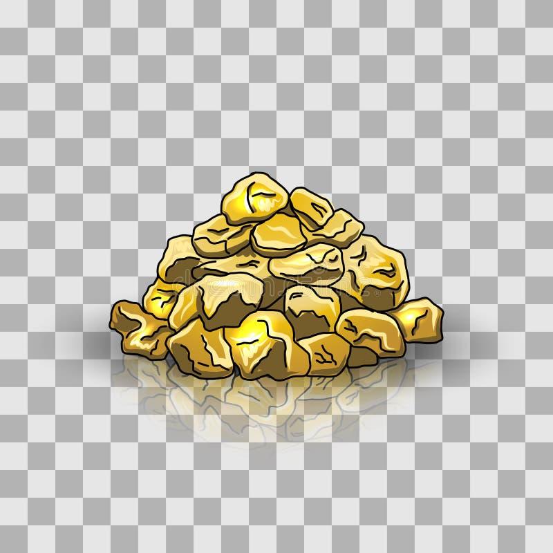 Golden nuggets pile royalty free illustration
