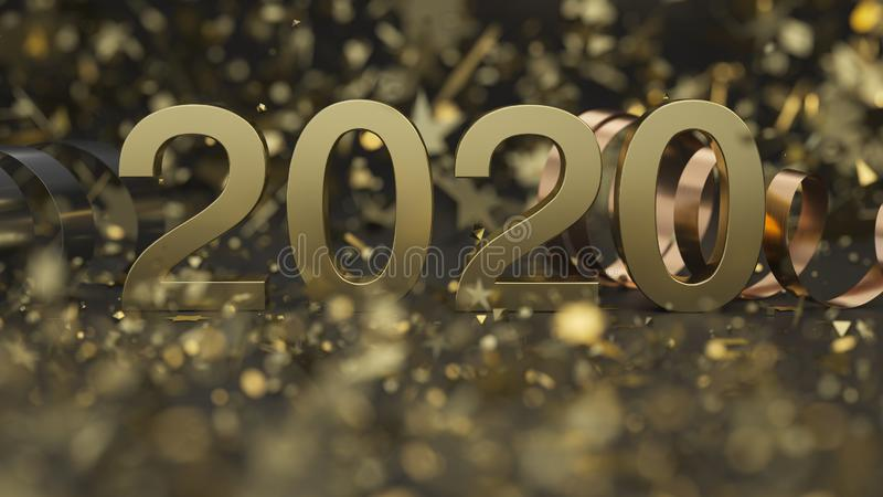 Golden 2020 number with confetti and serpentine royalty free stock images