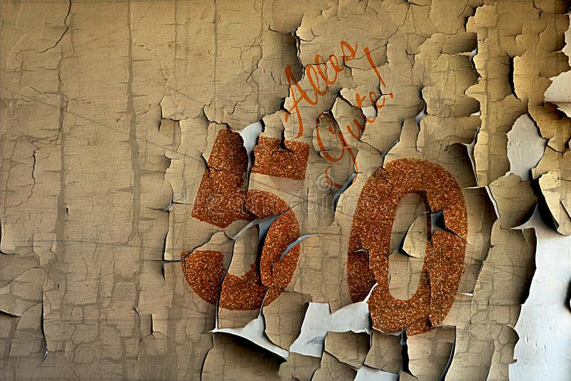 Golden number 50 on cover with German text all the best royalty free stock photography