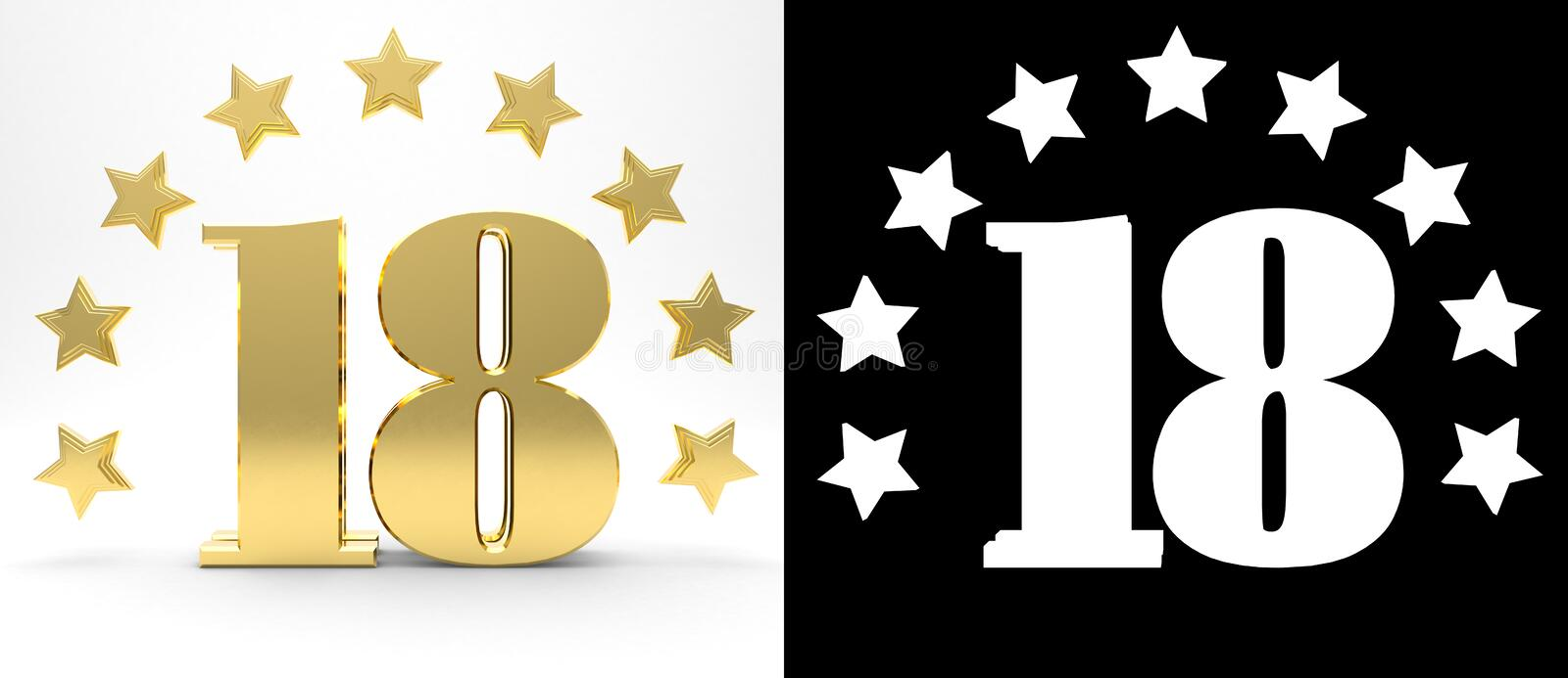 Golden number eighteen on white background with drop shadow and alpha channel , decorated with a circle of stars. 3D illustration stock illustration