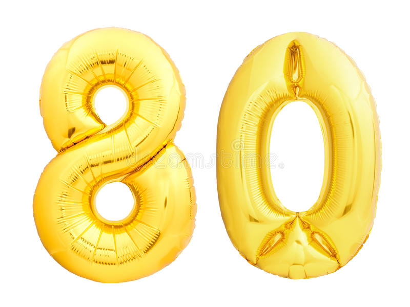 Golden number 80 eighty made of inflatable balloon. Isolated on white background royalty free stock photo