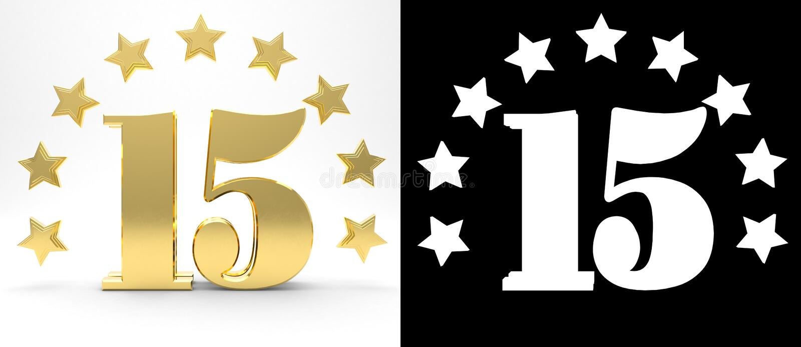 Golden number fifteen on white background with drop shadow and alpha channel , decorated with a circle of stars. 3D illustration.  royalty free illustration