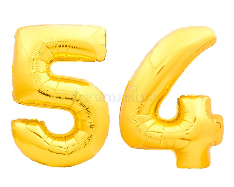 Golden number 54 fifty four made of inflatable balloon stock image