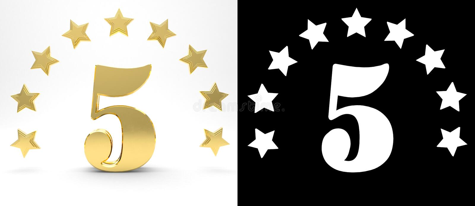 Golden number five on white background with drop shadow and alpha channel , decorated with a circle of stars. 3D illustration.  royalty free illustration