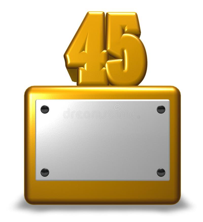 Golden number forty-five stock illustration