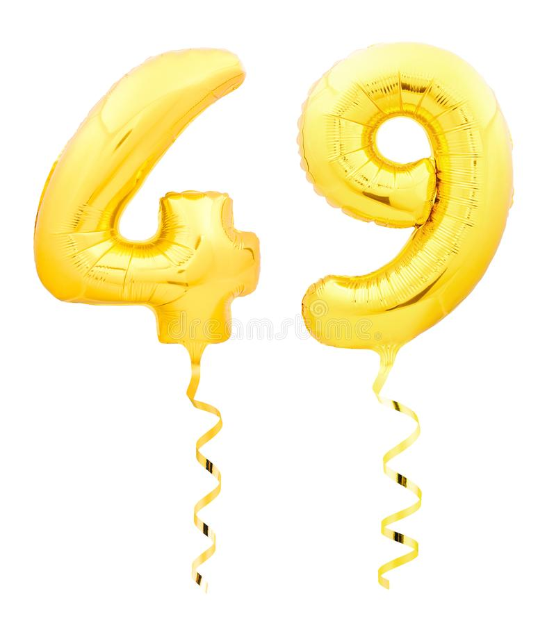 Golden number forty nine 49 made of inflatable balloon with ribbon on white. Golden number forty nine 49 made of inflatable balloon with golden ribbon isolated royalty free stock photography