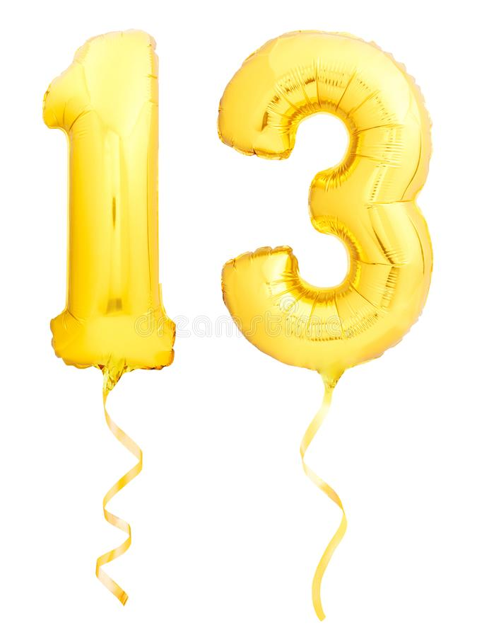 Golden number 1 made of inflatable balloon. Golden number 13 thirteen made of inflatable balloon with golden ribbon isolated on white background stock image