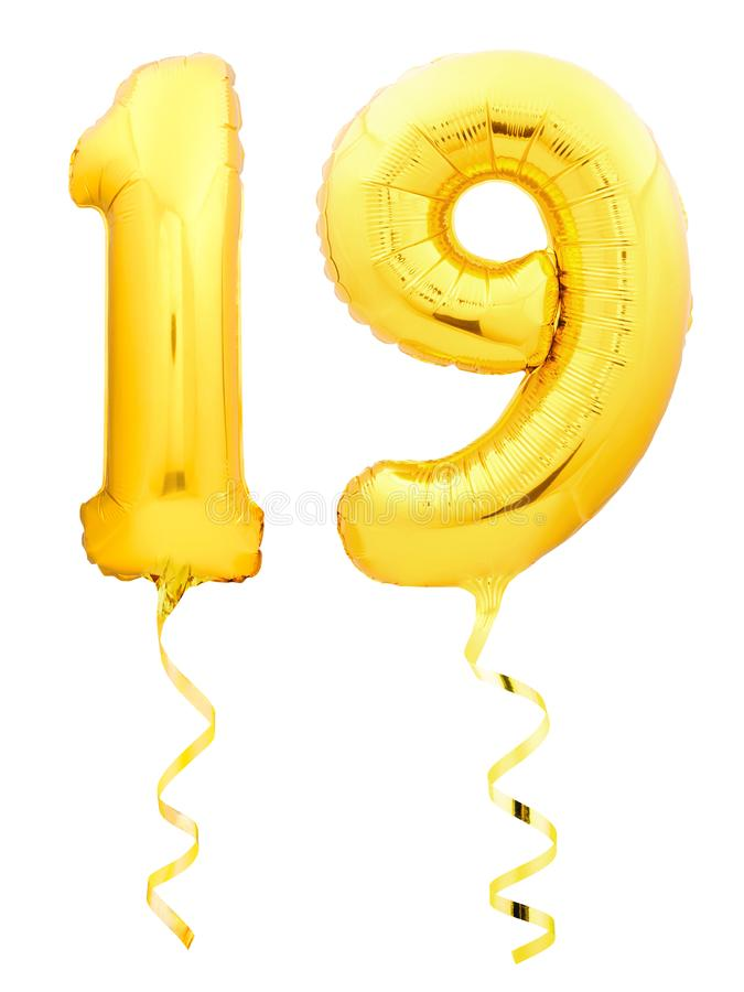 Golden number 1 made of inflatable balloon. Golden number 19 nineteen made of inflatable balloon with golden ribbon isolated on white background stock image