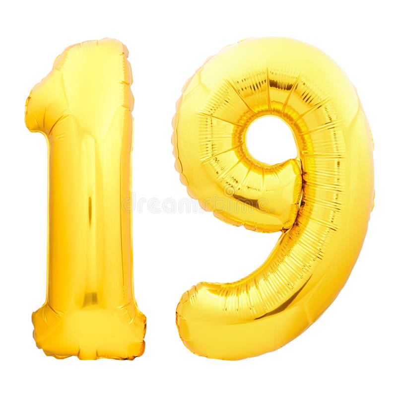 Golden number 19 nineteen made of inflatable balloon stock photography