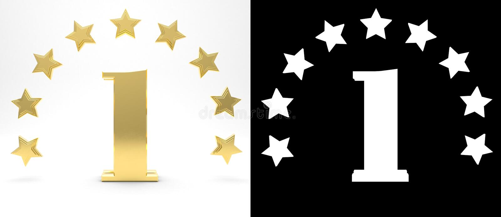 Golden number one on white background with drop shadow and alpha channel , decorated with a circle of stars. 3D illustration.  royalty free illustration