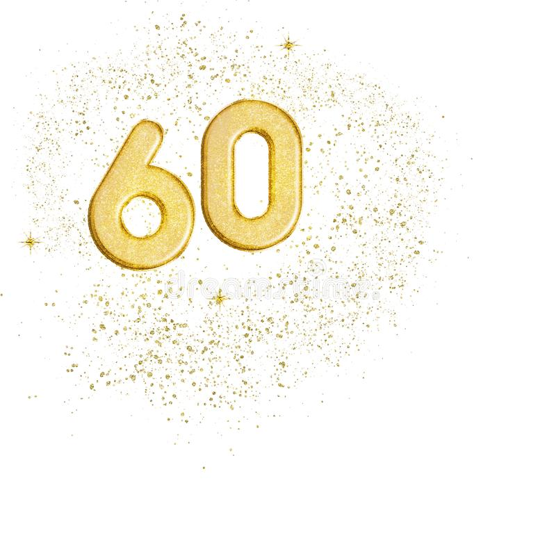 Golden number 60, sixty numbers isolated on white background. Ideal sixtieth wedding anniversary or birthday. Glittery. Golden number 60, sixty numbers isolated stock illustration