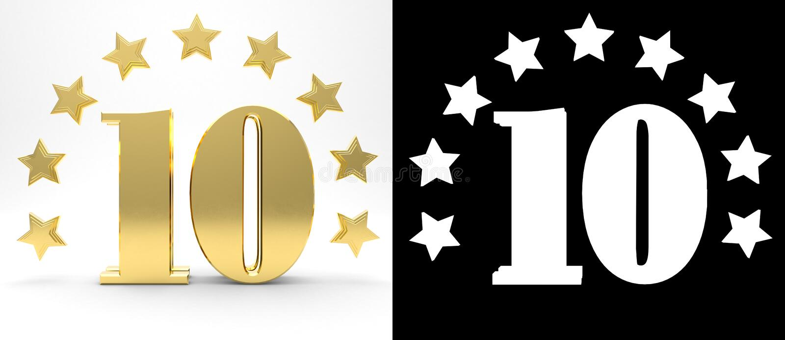 Golden number ten on white background with drop shadow and alpha channel , decorated with a circle of stars. 3D illustration royalty free illustration