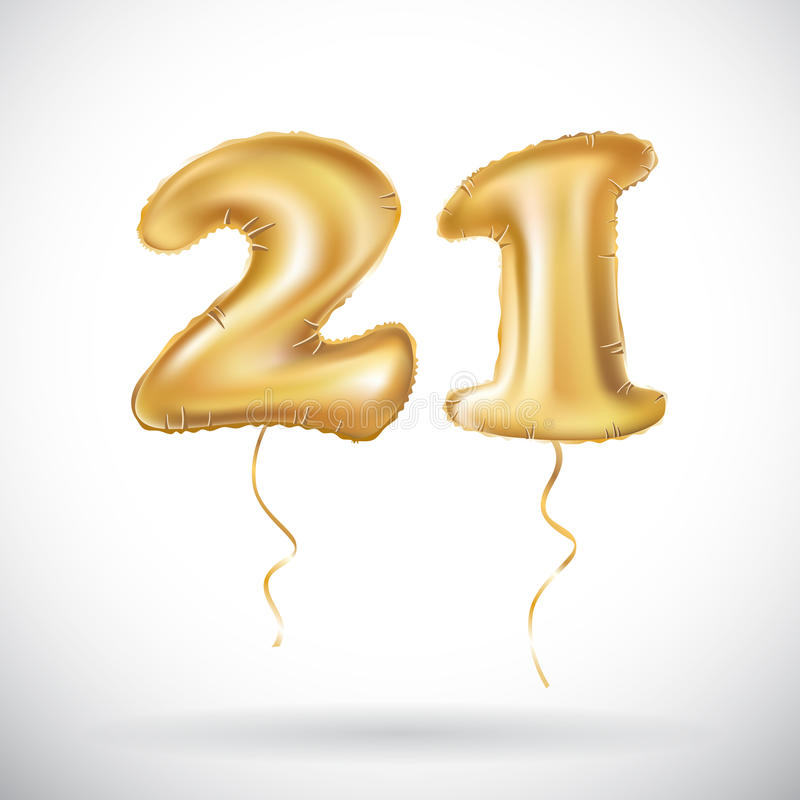 Golden number twenty one metallic balloon. Party decoration golden balloons. Anniversary sign for happy holiday, celebration, birt stock illustration