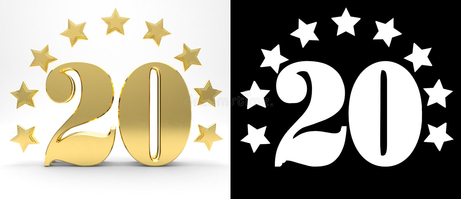 Golden number twenty on white background with drop shadow and alpha channel , decorated with a circle of stars. 3D illustration royalty free illustration