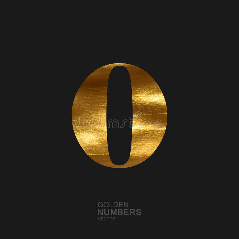 Golden number 0 royalty free illustration