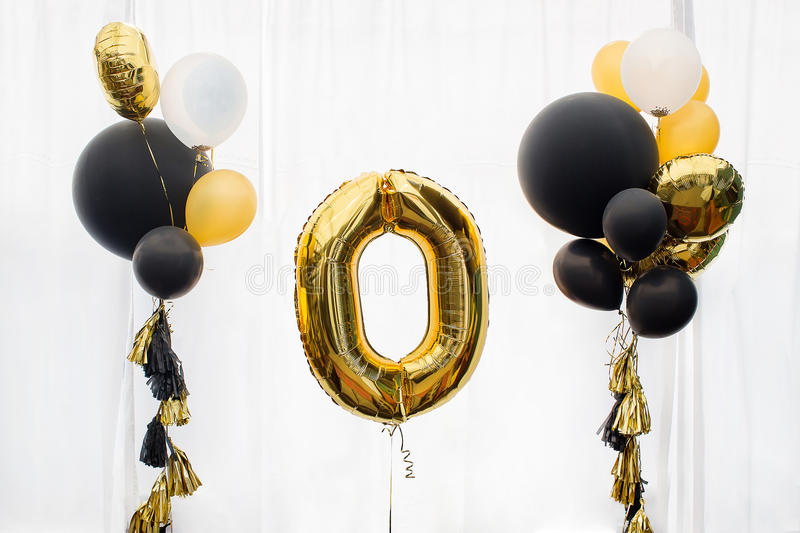 Golden number zero balloon royalty free stock images