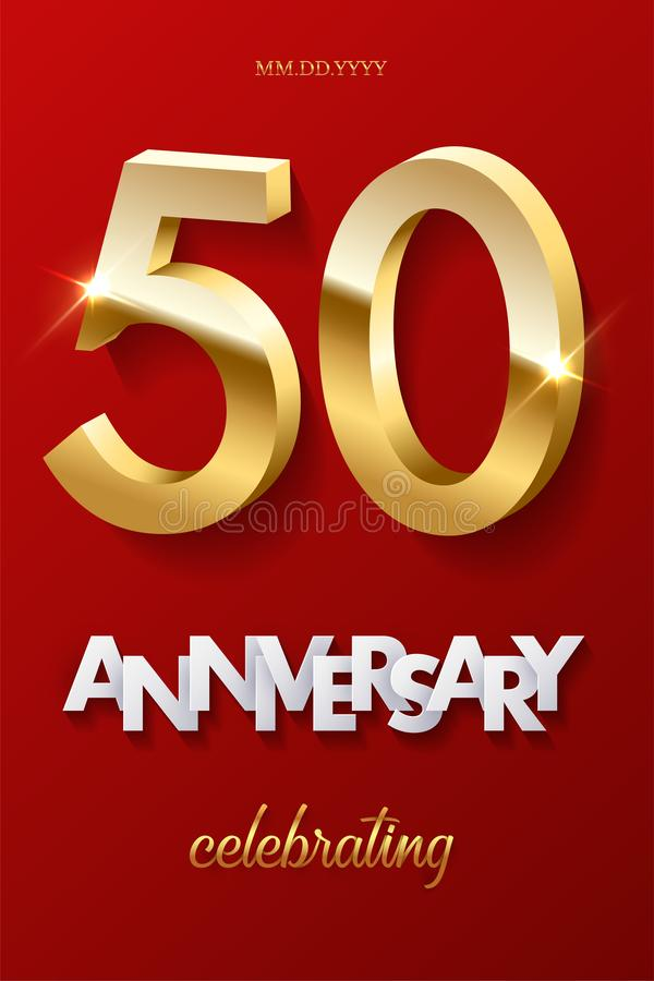 50 golden numbers and Anniversary Celebrating text on red background. Vector vertical fiftieth anniversary celebration. Event invitation template vector illustration
