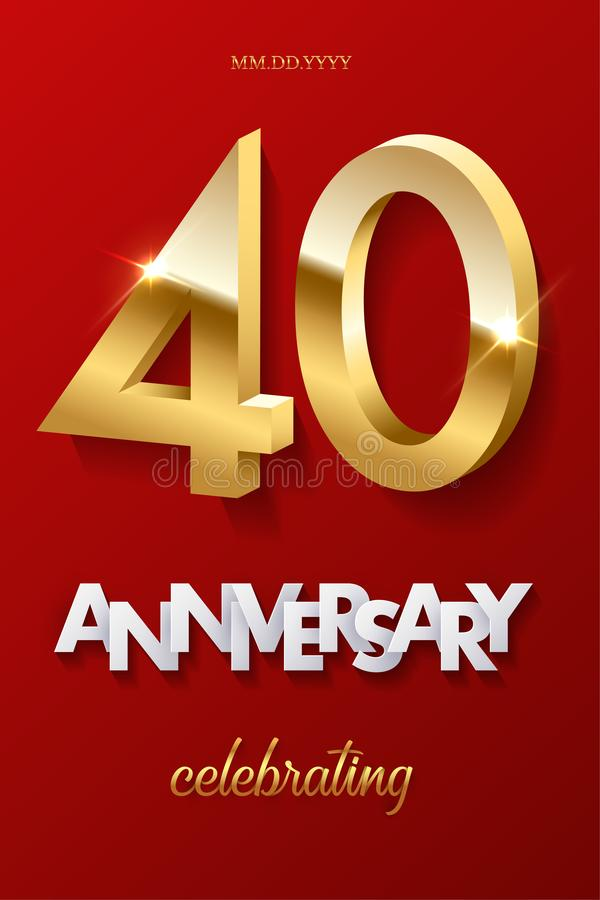 40 golden numbers and Anniversary Celebrating text on red background. Vector vertical fortieth anniversary celebration stock illustration
