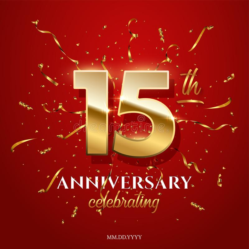 15 golden numbers and Anniversary Celebrating text with golden serpentine and confetti on red background. Vector vector illustration