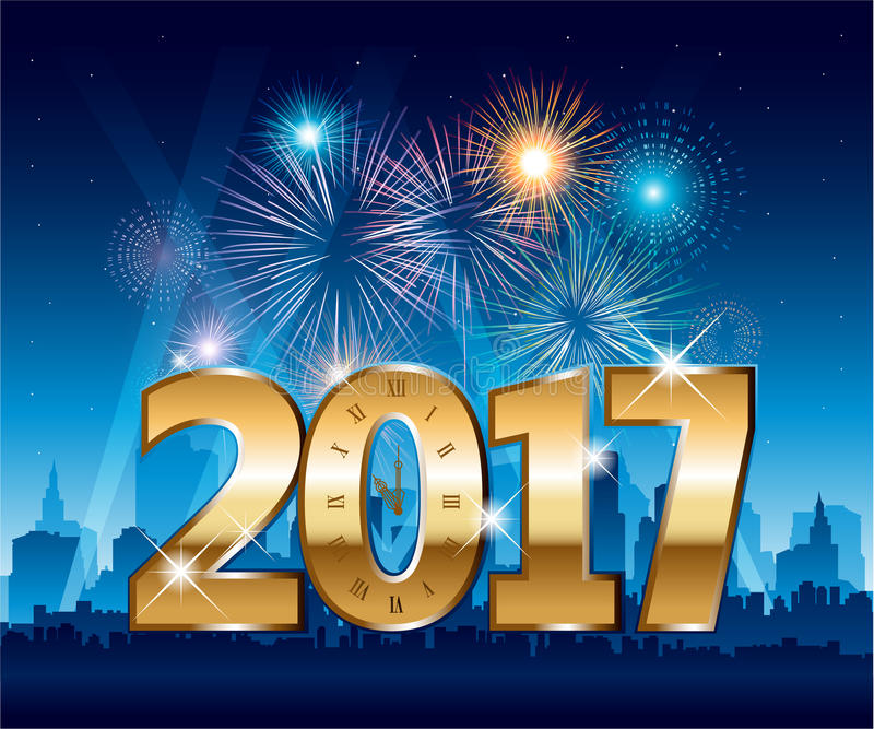 Golden 2017 numbers happy new year party city with fireworks. Golden 2017 numbers happy new year party city and fireworks vector illustration