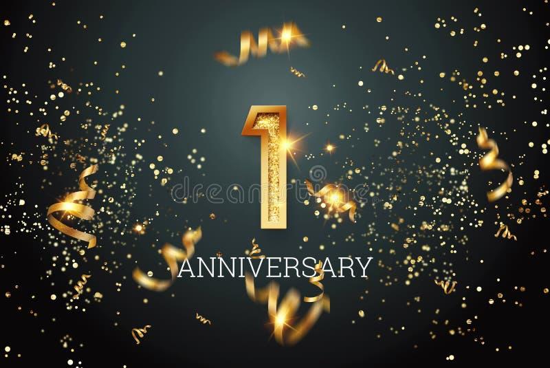 Golden numbers, 1 jaar verjaardagsfeest op donkere achtergrond en confetti flyer-sjabloon 3D-illustratie, 3D stock illustratie