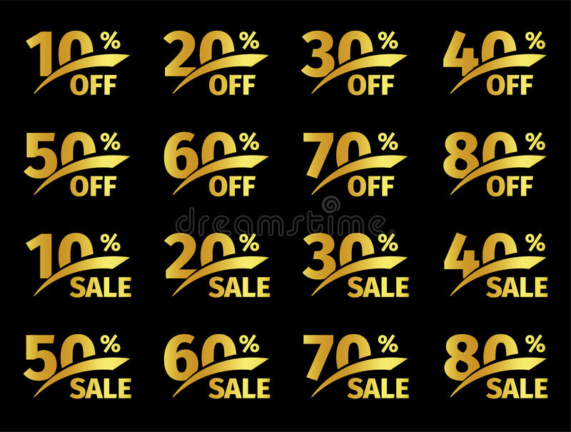 Golden numbers with percentage on a black background. Promotional business offer for buyers. The number of discounts in stock illustration