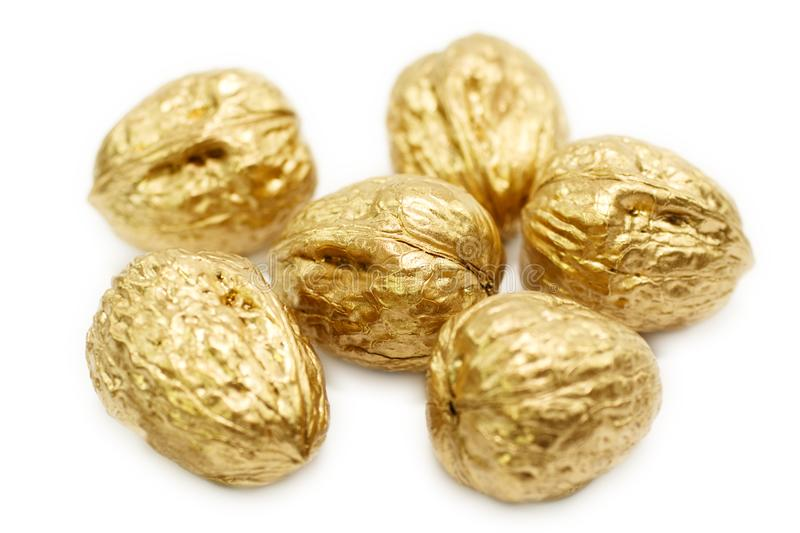 Golden nuts stock images