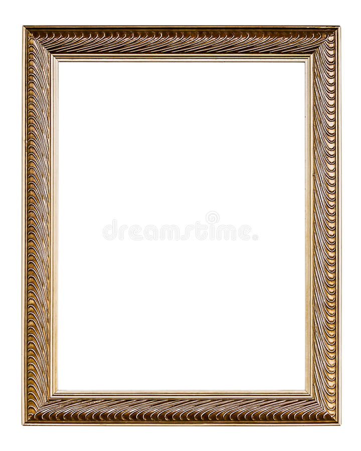 Golden Old Frame, Vertical, Isolated On White Stock Photo - Image of ...