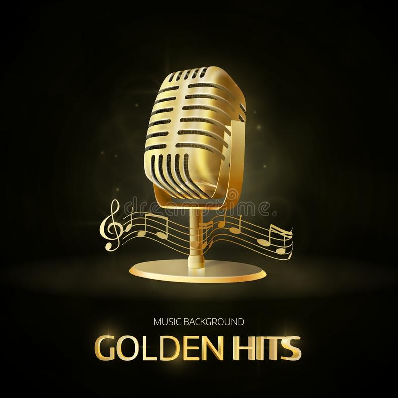 Golden old vintage microphone icon. Radio station banner. Musical hits. Vector design stock illustration