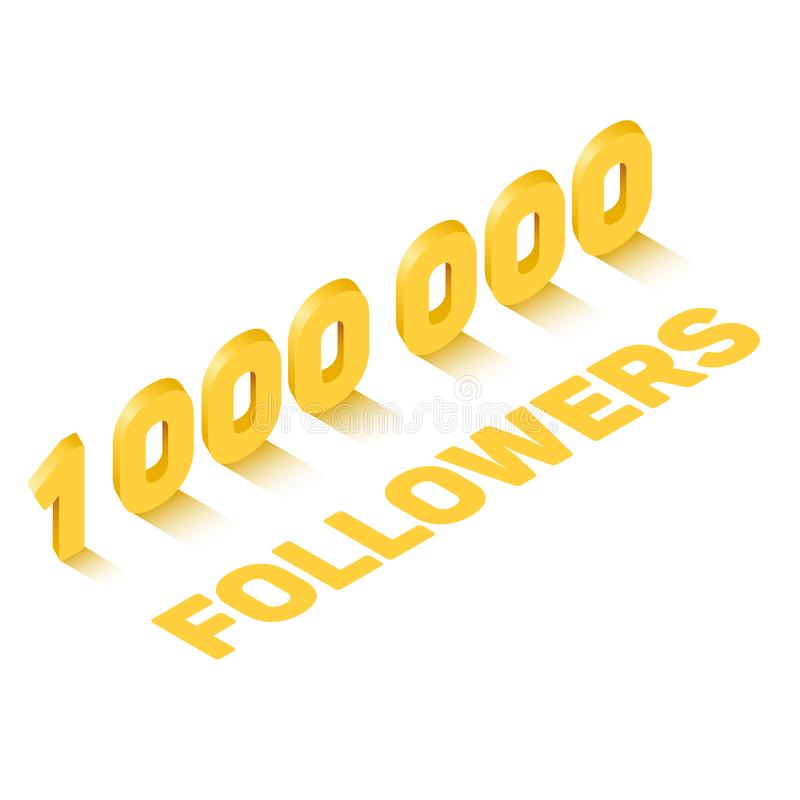Golden one million followers sign in isometric style, celebration concept stock illustration