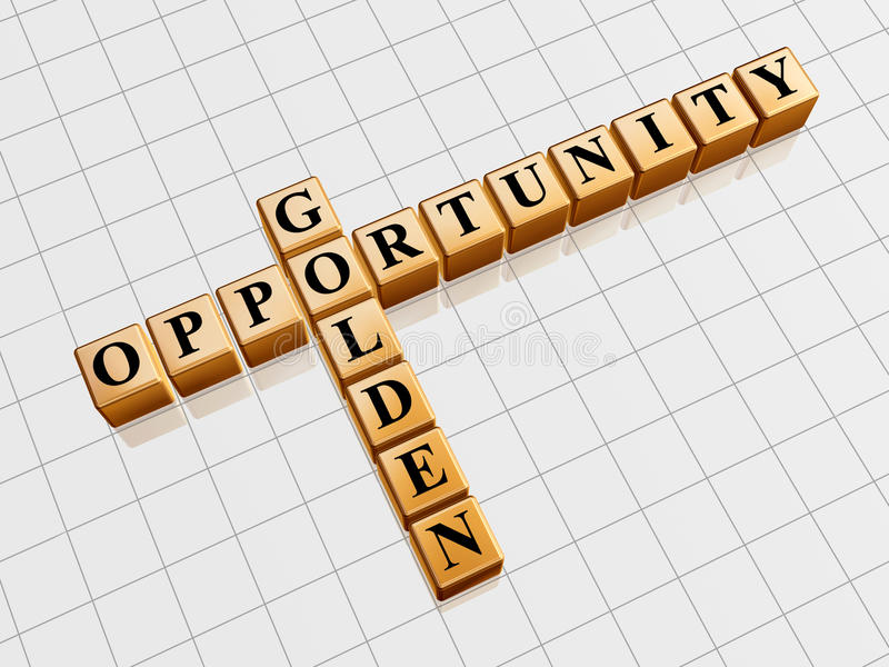 Golden opportunity like crossword. 3d gold cubes with black letters like crossword with text - golden opportunity stock illustration