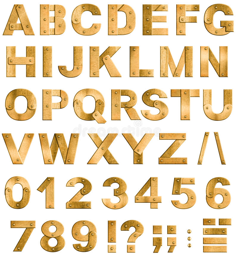 Free Golden Or Brass Metal Alphabet Letters Or Font Royalty Free Stock Photos - 35060098